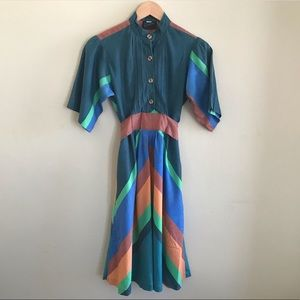 Vintage Ragtime Wooden Buttons Multicolor Dress